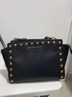 Michael Kors Studded Selma Black Gold Authentic