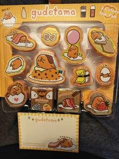 GUDETAMA STAMP ( 10in 1 with 4 stationary card and 2stamp pad  )
