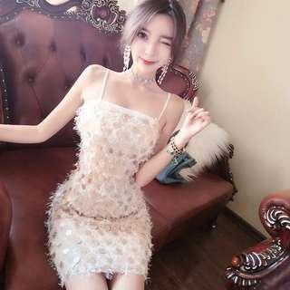 Glamorous shinning sexy beige white dress
