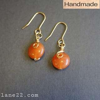 Orange Aventurine handmade earrings in gold tone / tarnish resistant wires