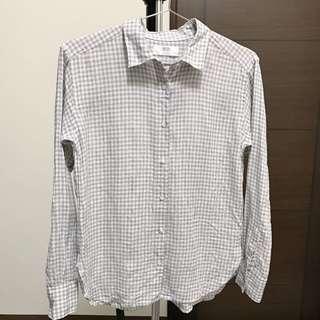 Uniqlo灰白小格紋棉麻長袖襯衫