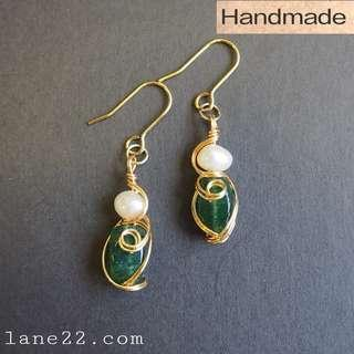 Freshwater pearls with emerald green Aventurine handmade earrings in gold tone / tarnish resistant wires lane22