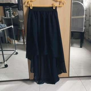 Navy Waterfall Skirt