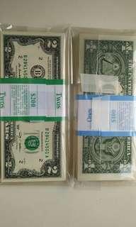 全新直版美金1元和2元(各100張)
