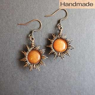 Orange Aventurine copper wire earrings in sunray style