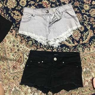 Shorts Bundle Forever 21 Cotton On black and White Stripes
