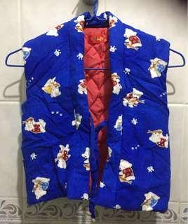 日本熊藍色全棉背心