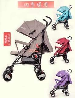 🚚 (免運)嬰兒車可坐可躺輕巧便攜新生兒推車四季款0-3歲易折叠收納一扣收車簾子可收通風可放保暖