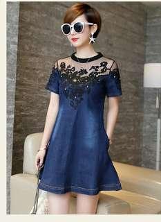 Elegant Denim Dress S - 4XL