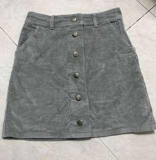 Grey corduroy skirt
