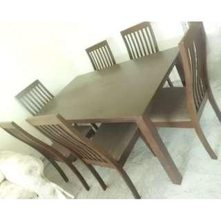 Solid wood 7 piece dining table and chairs set for sale!