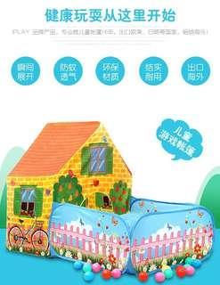 🚚 兒童遊戲帳篷寶寶室内户外玩具遊戲屋+海洋球50顆