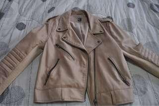 Off Pink Leather Jacket