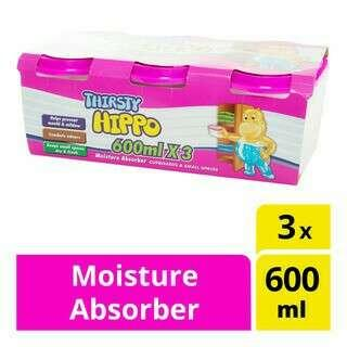Thirsty Hippo Moisture Absorber / Thirsty Hippo Dehumidifier 3 X 600ml