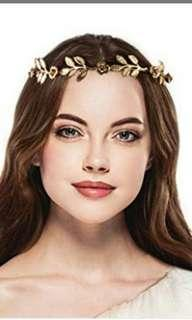 2 pcs Metal leaf head crown