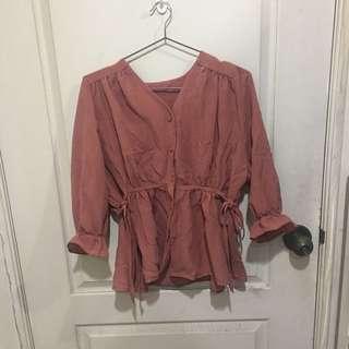 🚚 (正韓二手)暗粉色氣質棉麻排釦綁結上衣