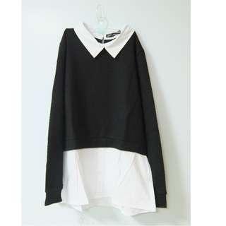 黑色毛衣襯衫