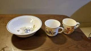 Preloved teddy bear bowl and cups