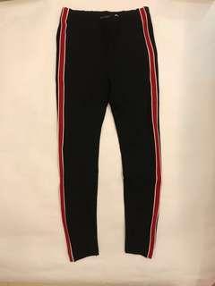Zara S號紅色邊條緊身褲