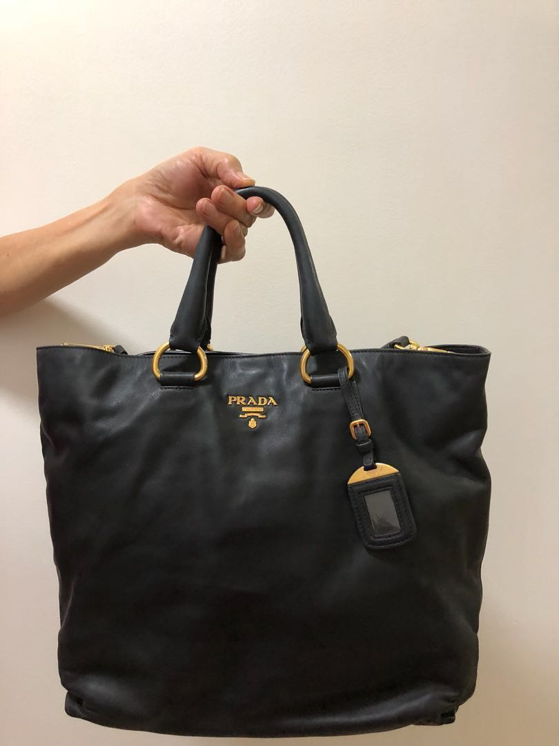 5e8df72e541a AUTHENTIC Prada BN 1713 Vitello Daino Shopping Tote Hand Bag ...