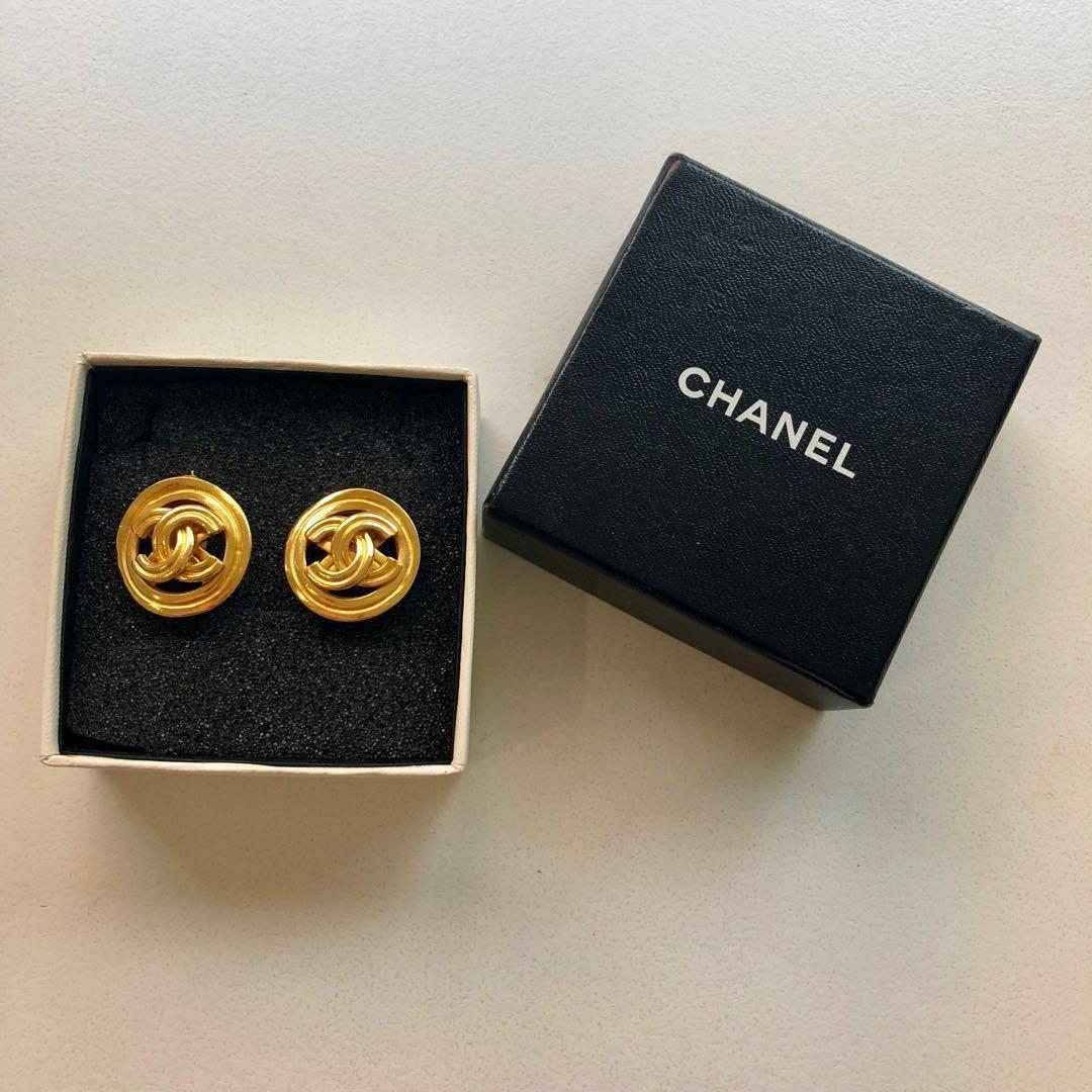 Authentic vintage Chanel button earrings