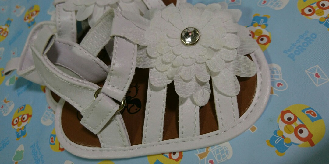 Baby Girl White Sandals With White Flowers Babies Kids Babies