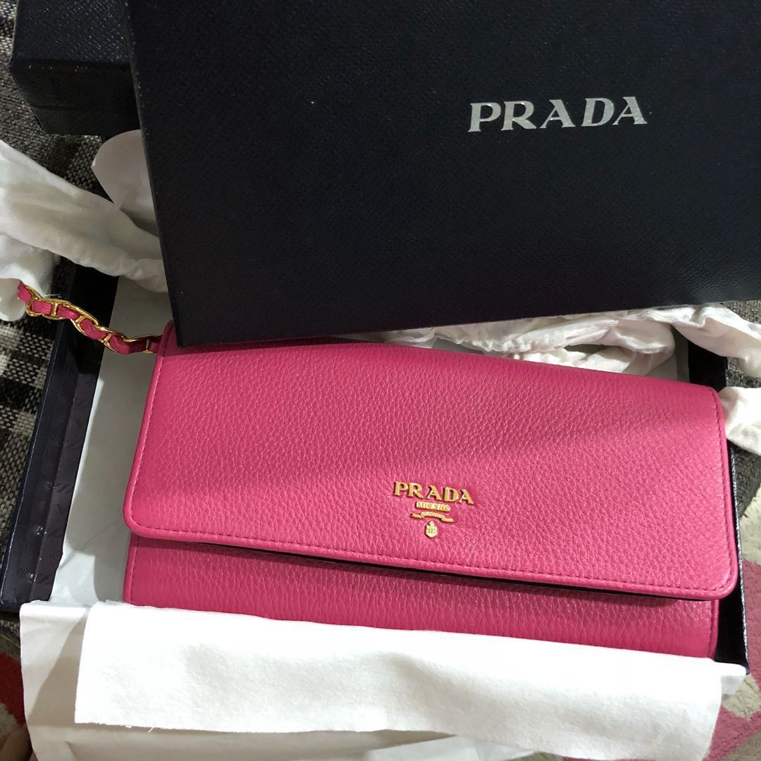 766acd0650eb BNIB Prada Long Wallet/ Sling bag on chain , Luxury, Bags & Wallets ...
