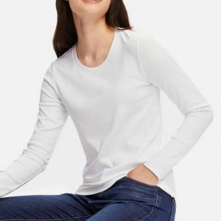 593057d4a84cfc BNWT H&M White Classic Long Sleeve Top, Women's Fashion, Clothes ...