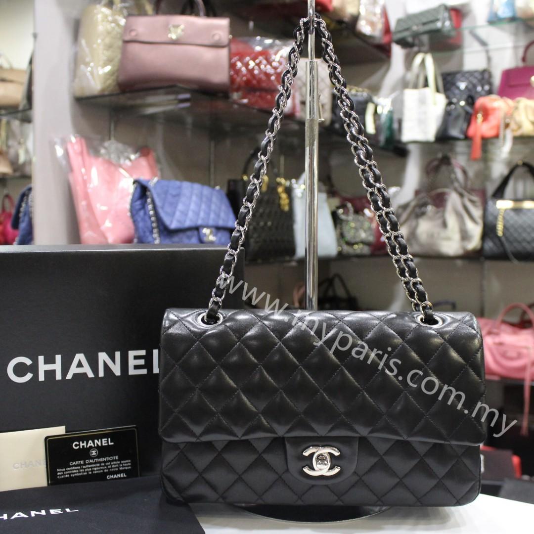 5b1e130b9f42 Chanel Classic Black Lambskin Medium Double Flap Bag