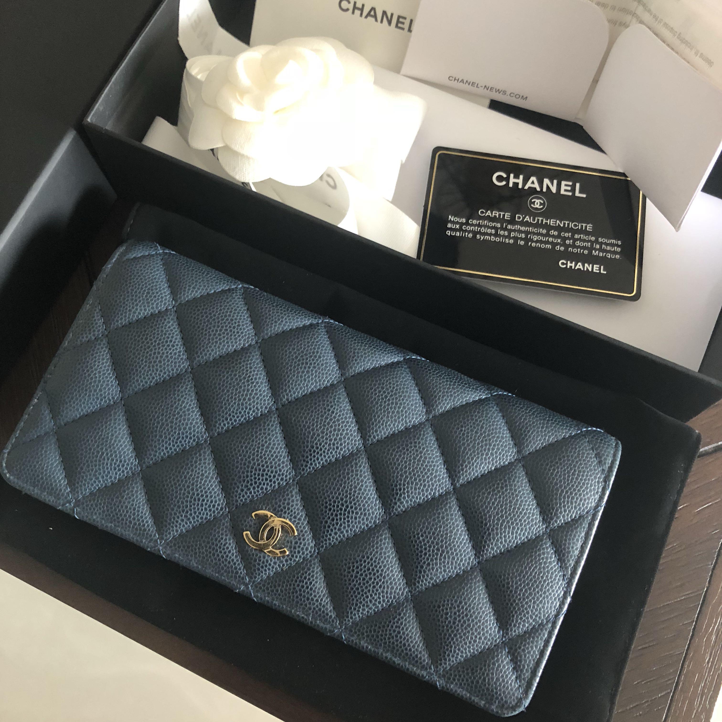7d183b768e2a Chanel long wallet, caviar leather, seasonal blue, Women's Fashion ...