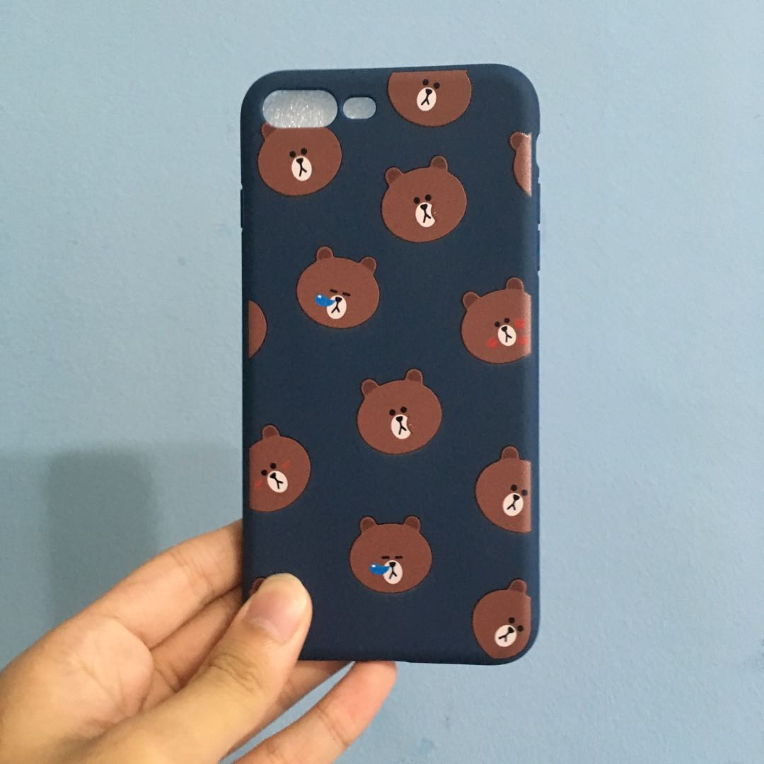 new concept 5f409 7dd9d [CLEARANCE] LINE FRIENDS iPhone 8 plus case (bear design)
