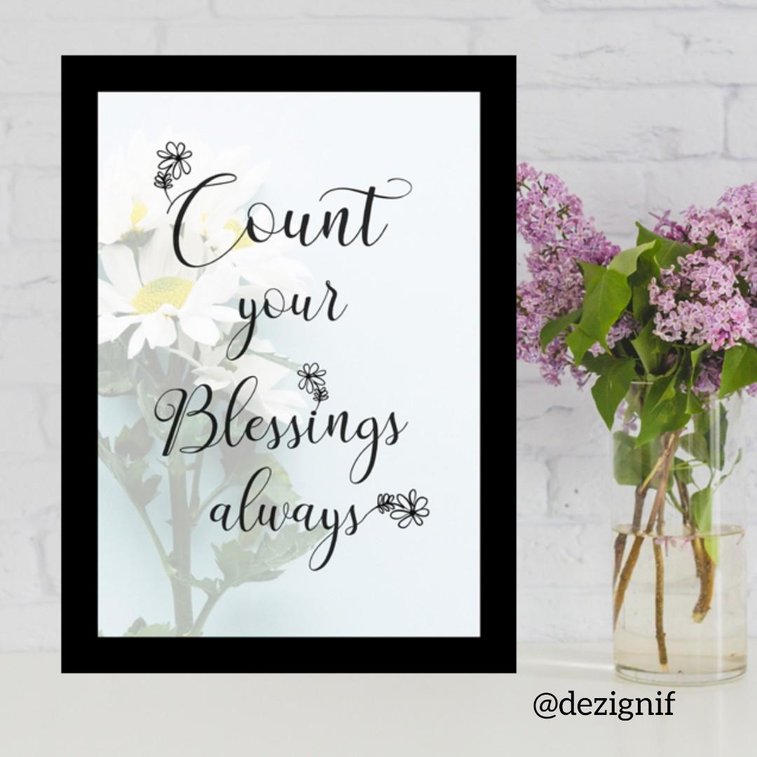 Count Your Blessings Quote, Design & Craft, Others on Carousell
