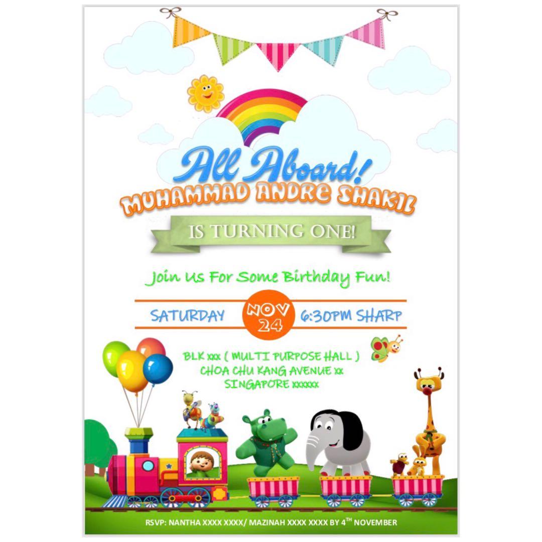 Customise BabyTv Theme Birthday Invitation Digital Card Babies