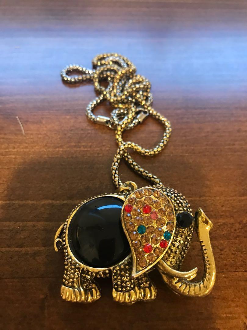 Elephant long knecklace costume jewellery