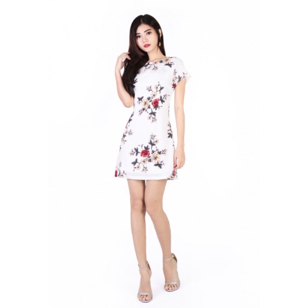 87d28acd5f FEBELLE FLORAL DRESS IN WHITE