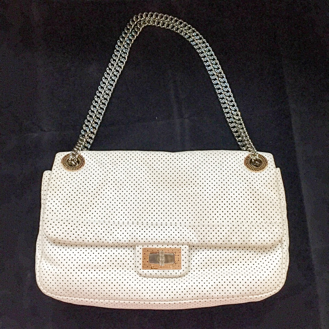 275b56b541ea Auth Full Set CHANEL Creme 2.55 Reissue Perforated Leather Classic ...