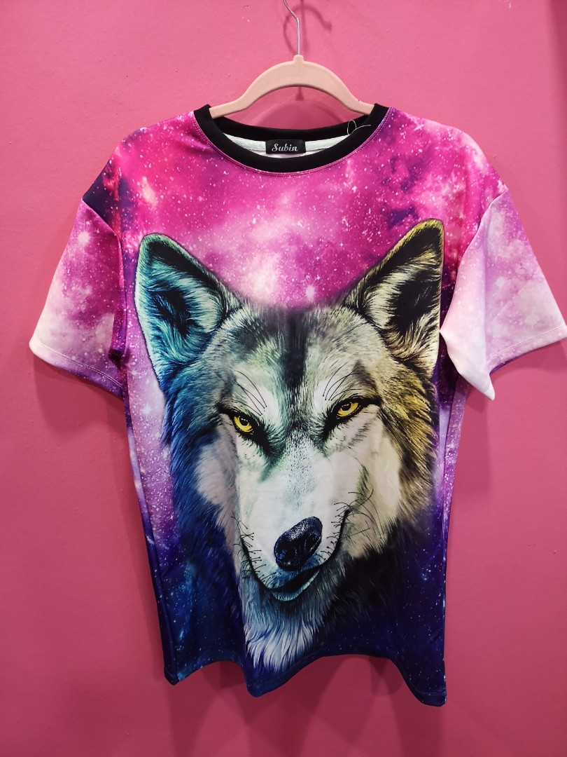 e9070ef9 Galaxy wolf Tshirt, Women's Fashion, Clothes, Tops on Carousell