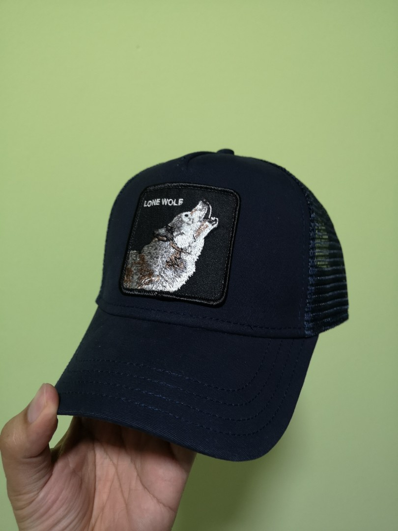 "2602f2eb64c26 Goorin Bros Animal Farm ""Lone Wolf"" Navy Trucker Cap"