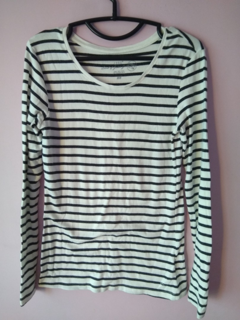 b71f51c8 H&M Long Sleeves Stripe Top Pullover, Women's Fashion, Clothes, Tops ...