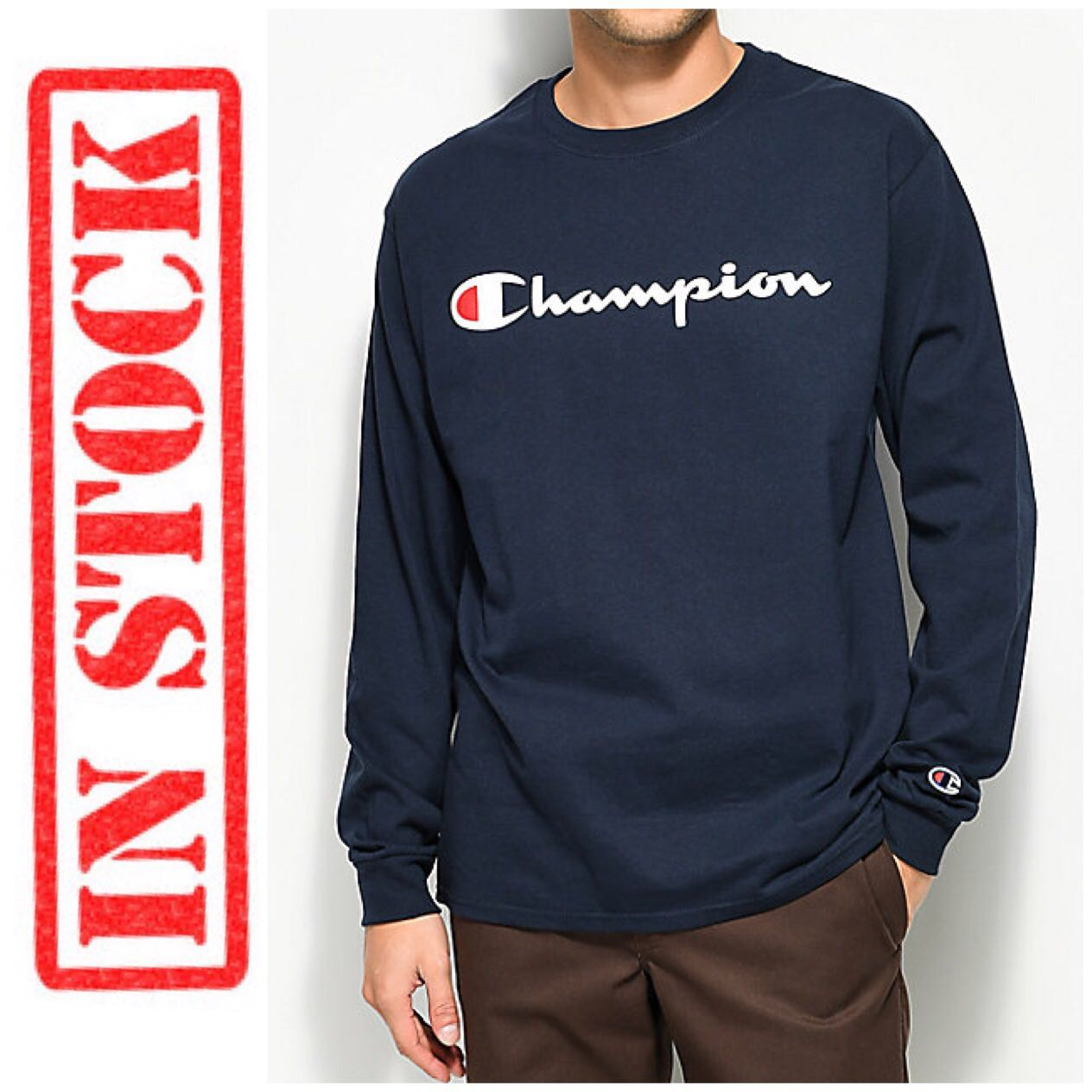 a77154b1135d IN STOCK Champion Jersey Long Sleeve Logo T-shirt | NAVY, Men's ...