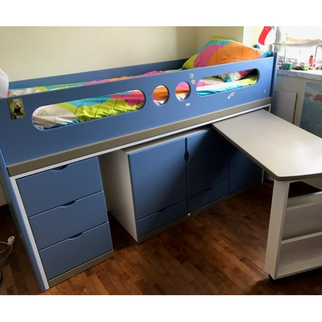 Kids Bed With Study Table And Storage Furniture Beds Mattresses On Carousell
