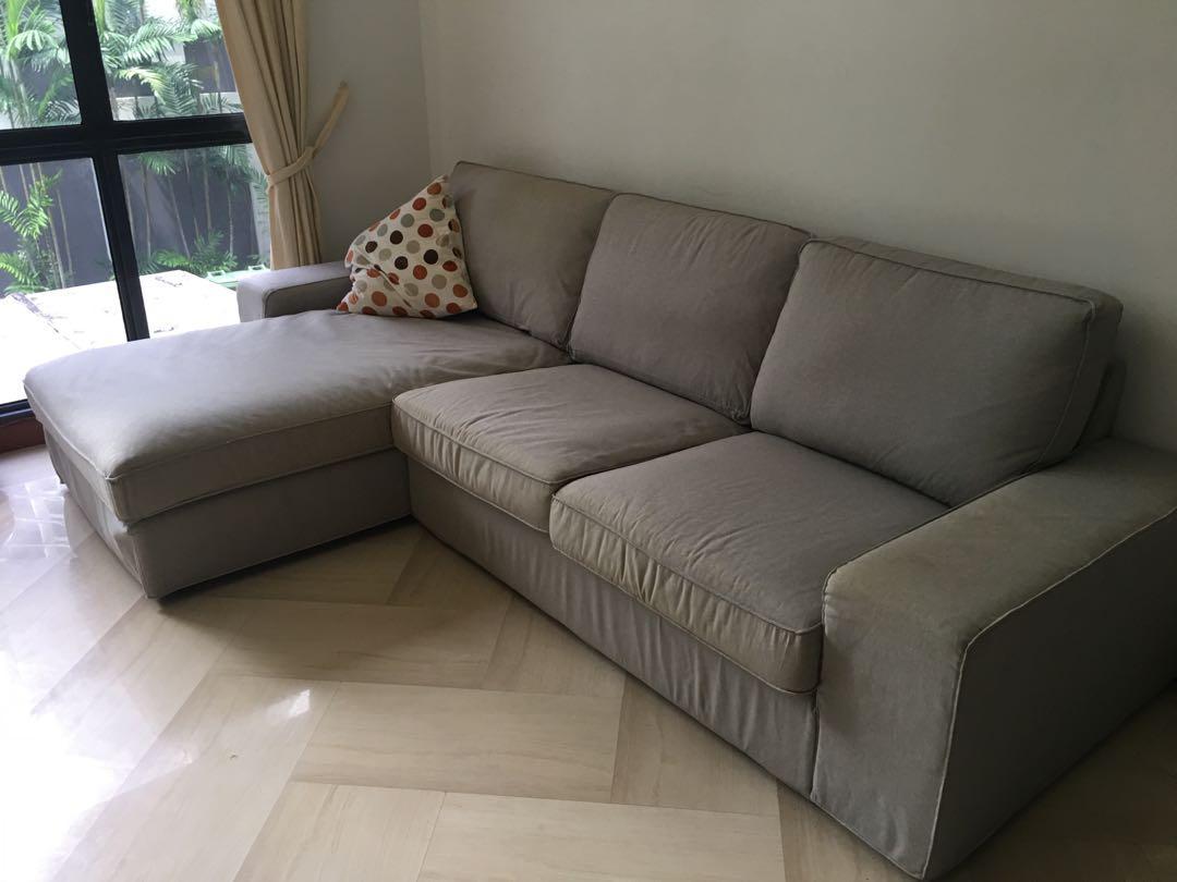L Shaped IKEA Sofa. KIVIK, Light Grey, Furniture, Sofas On Carousell