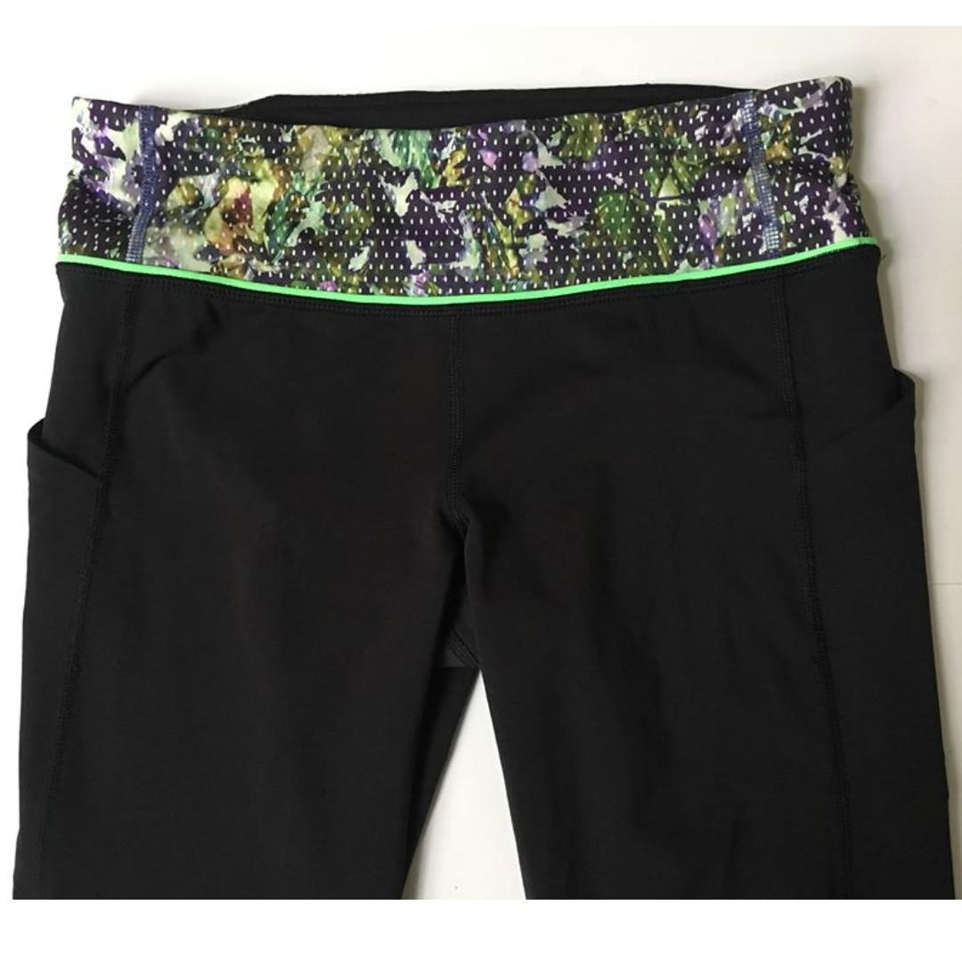 Lululemon Pace Rival Crops / Size 6 / Floral Sport Black Green Run Luxtreme