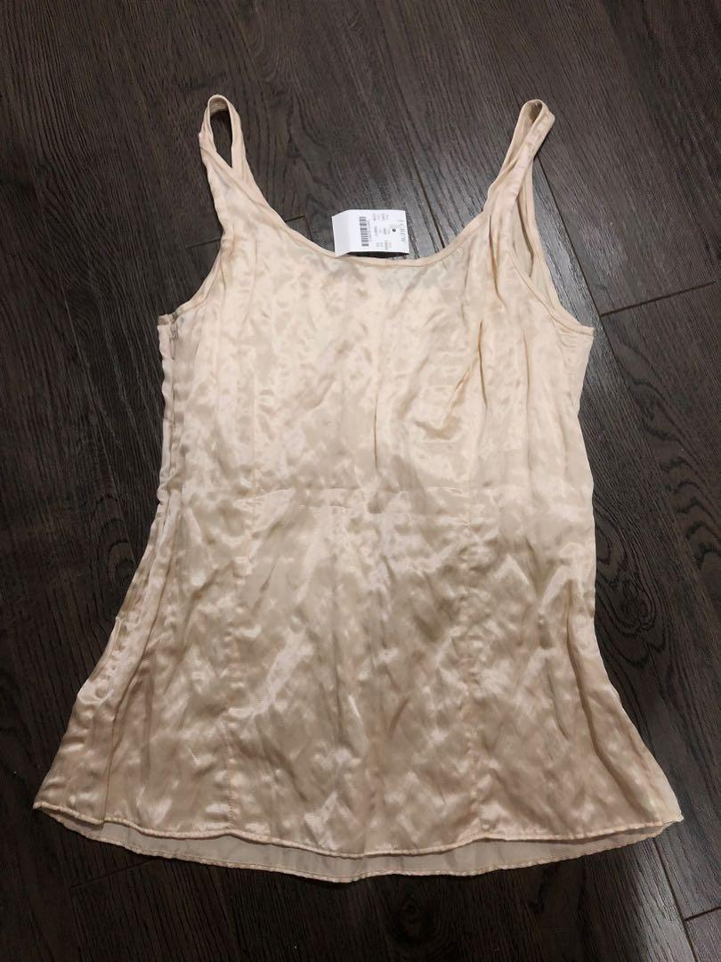 New BNWT J CREW cream silk blend tank top side zipper, size 4P