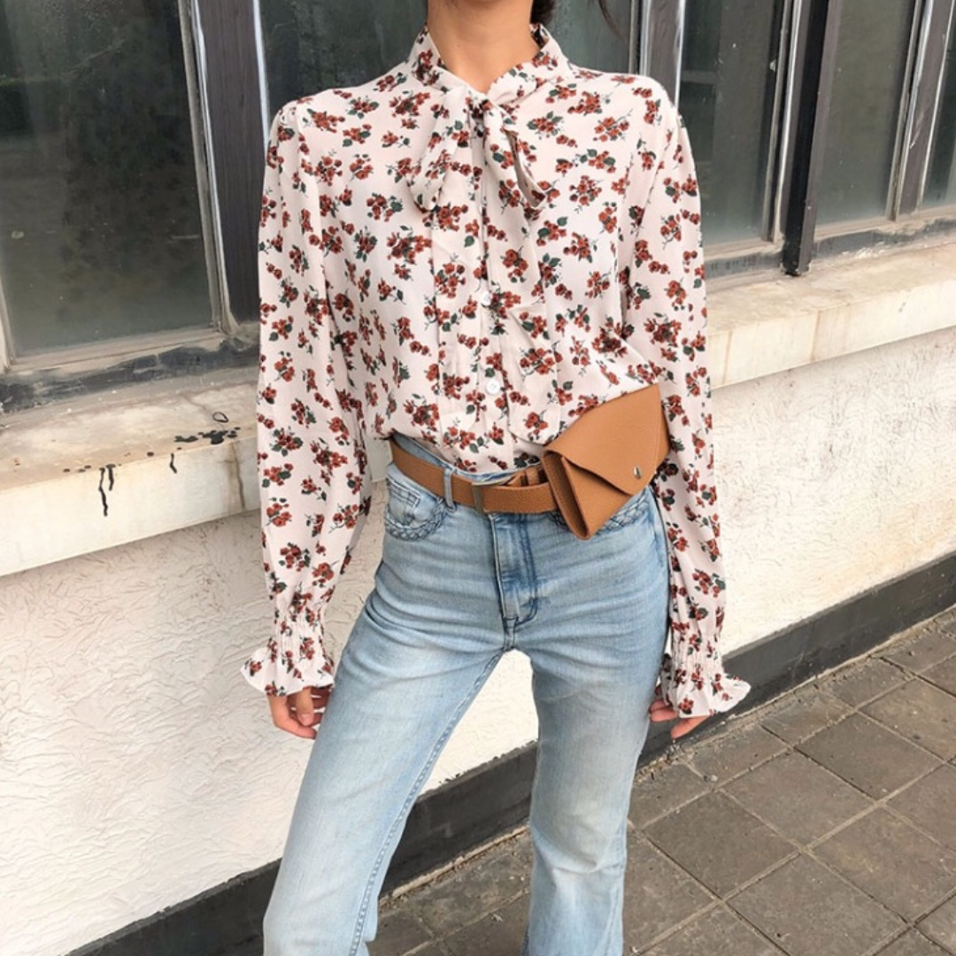 76d18c5566e2dc Off White Floral Chiffon Blouse, Women's Fashion, Clothes, Tops on ...