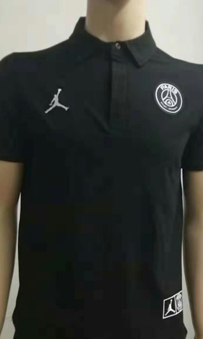 3ca862340 PSG 18-19 Jordan Black Polo, Sports, Sports Apparel on Carousell