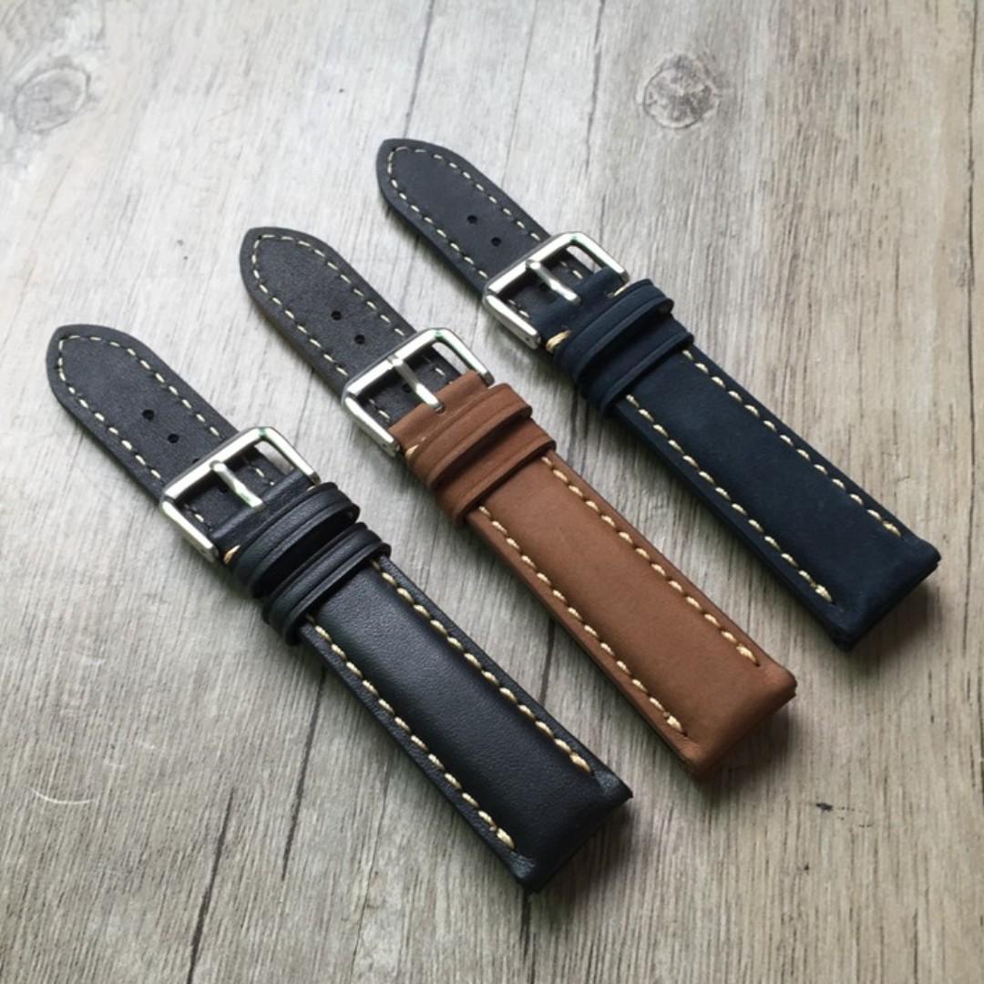 Soft Leather Handmade Watchband 20mm - Brown & Black