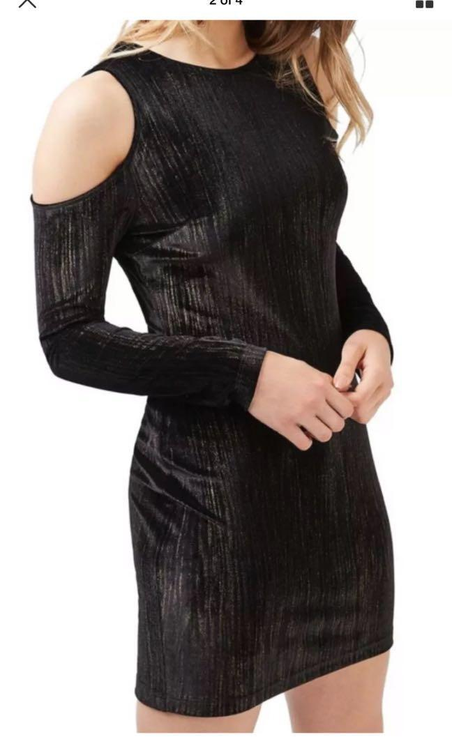 TOPSHOP NWT NEW Cold Shoulder Metallic Velvet black Dress size 8