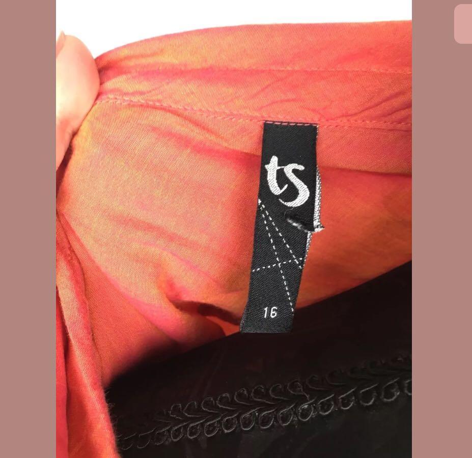 TS Taking Shape 16 red orange women top shirt blouse tunic plus size cotton