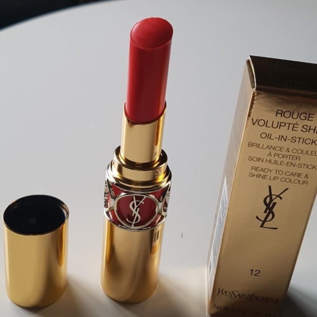 YSL Yves Saint Laurent Rouge Volupte Shine Luscious 4ml,12 Corail Dolman. BNIB.RRP$85.